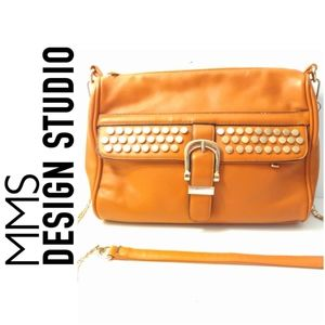 MMS DESIGN STUDIO STUDDED SHOULDER BAG - CARAMEL